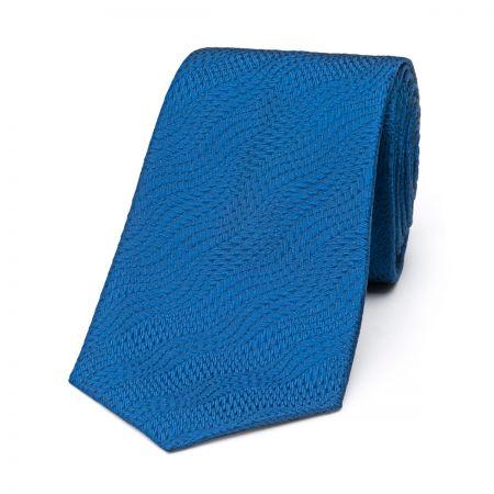 Wavy Textured Plain Tie in Blue