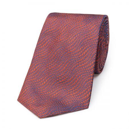 Wavy Textured Plain Tie in Burnt Orange