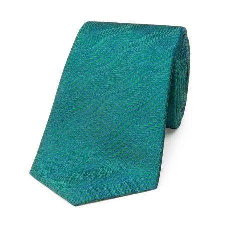 Wavy Textured Plain Tie in Green