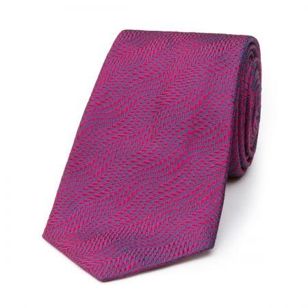 Wavy Textured Plain Tie in Magenta