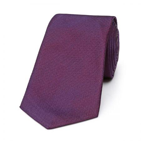 Plain Barathea Silk Tie in Mulberry