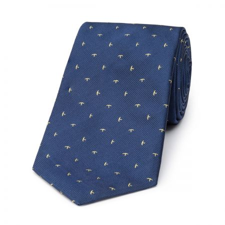 Swallow Silk Tie in Blue and Yellow