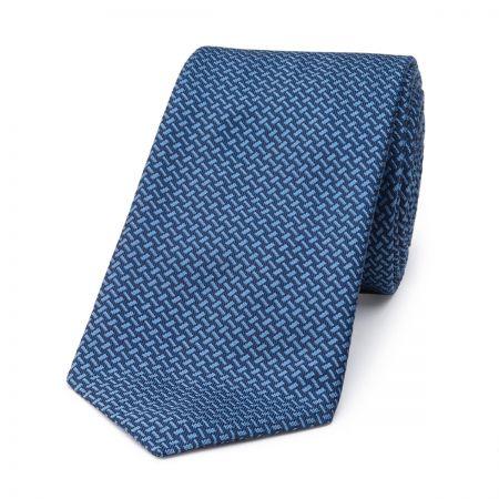 Dashed Lines Silk Tie in Blue