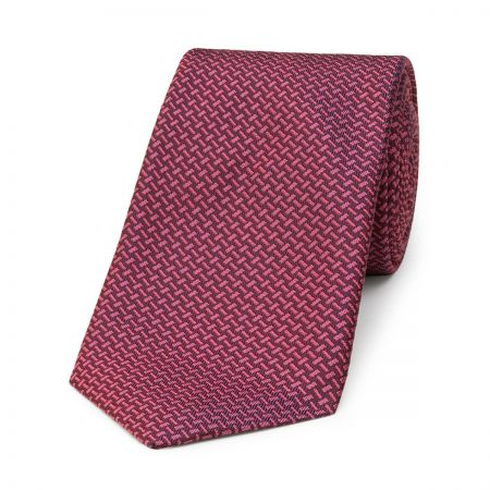 Dashed Lines Silk Tie in Pink