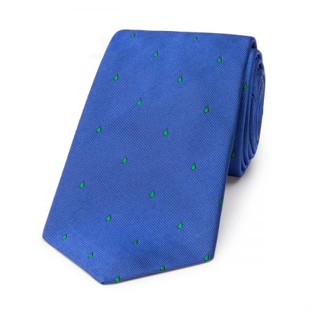 Paisley Drop Motif Silk Tie in Blue and Green