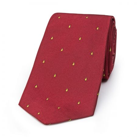 Paisley Drop Motif Tie in Red and Yellow
