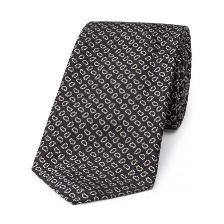 Pine Motif Silk Tie in Navy