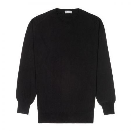 Plain Wool Crew Neck Jumper in Black
