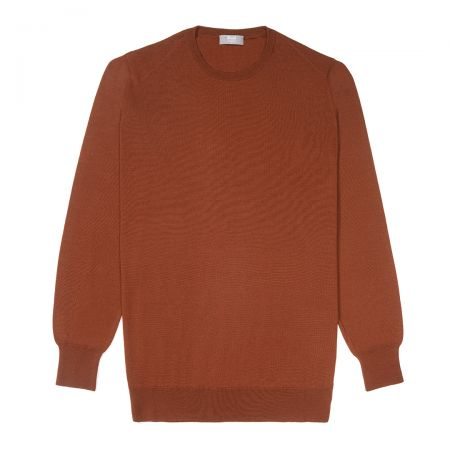 Plain Wool Crew Neck Jumper in Cayenne