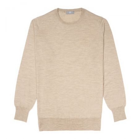 Plain Wool Crew Neck Jumper in Oat