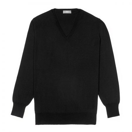 Plain Wool V Neck Jumper in Black