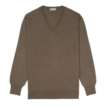Plain Wool V Neck Jumper in Mole