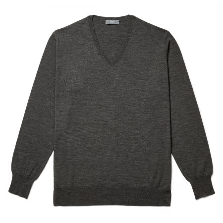 Plain Wool V Neck Jumper in Smoke