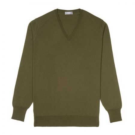 Plain Wool V Neck Jumper in Vere