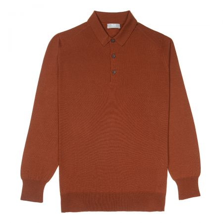 Plain Wool Sports Shirt in Cayenne