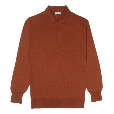 Plain Wool Sports Shirt in Cayenne