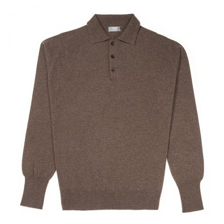 Plain Wool Sports Shirt in Mole