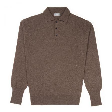 Plain Wool Sports Shirt in Mole