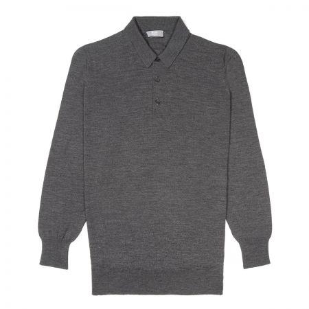 Plain Wool Sports Shirt in Smoke