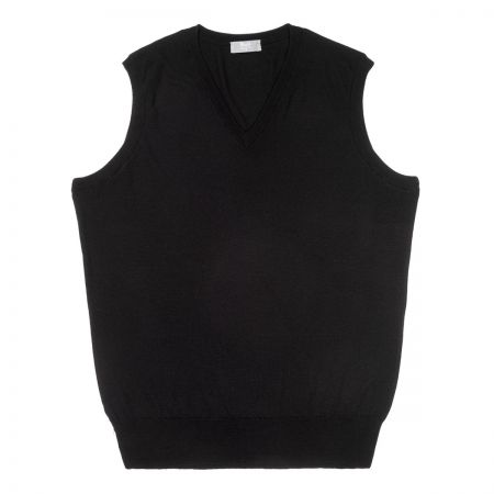 Plain Wool Slip Over Jumper in Black