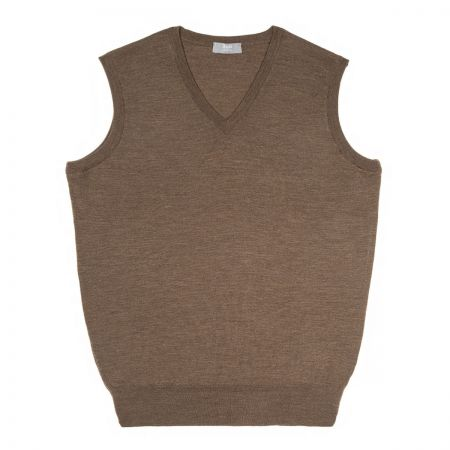 Plain Wool Slip Over Jumper in Mole