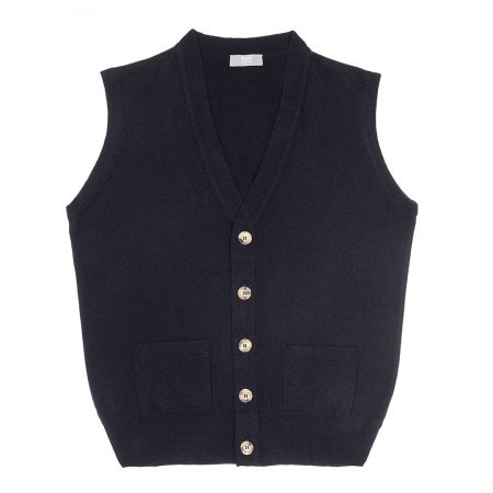Plain Cashmere Sleeveless Oxton Jumper in Dark Navy