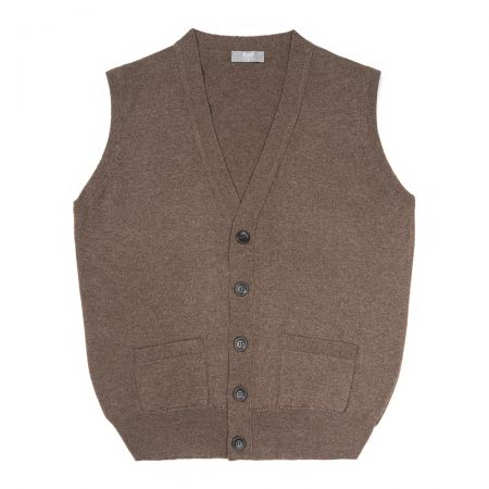 Plain Cashmere Sleeveless Oxton Jumper in Mocha