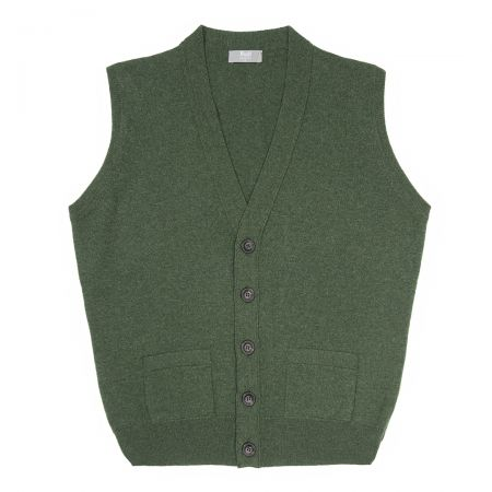 Plain Cashmere Sleeveless Oxton Jumper in Serpentine