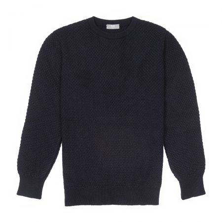 Plain Cashmere Seed Stitch Crew Neck Jumper in Dark Navy