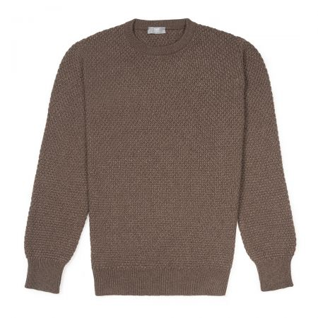 Plain Cashmere Seed Stitch Crew Neck Jumper in Mocha