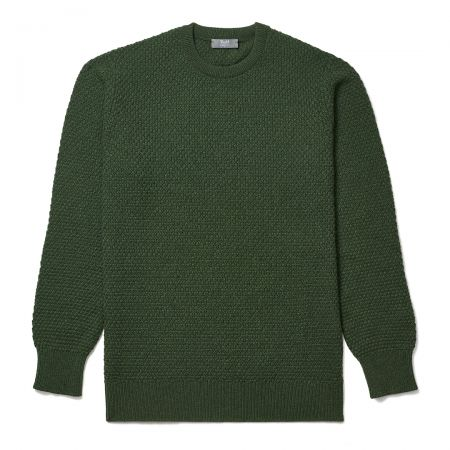 Plain Cashmere Seed Stitch Crew Neck Jumper in Serpentine