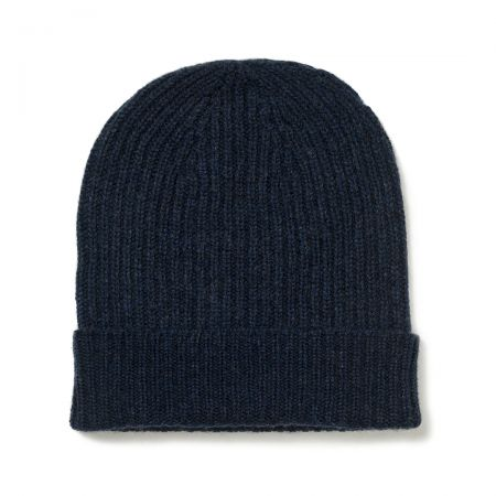 Plain Cashmere Ribbed Hat in Cosmos