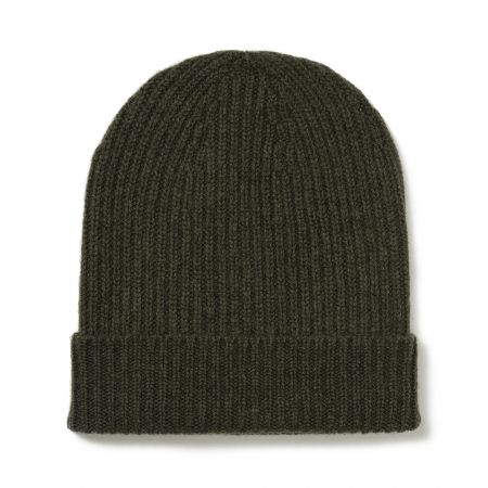 Plain Cashmere Ribbed Hat in Loden Mix