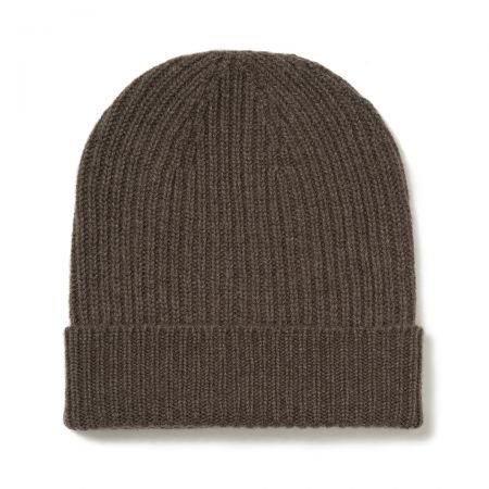 Plain Cashmere Ribbed Hat in Wilderbeast