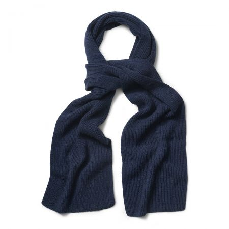 Plain Cashmere Ribbed Scarf in Dark Navy