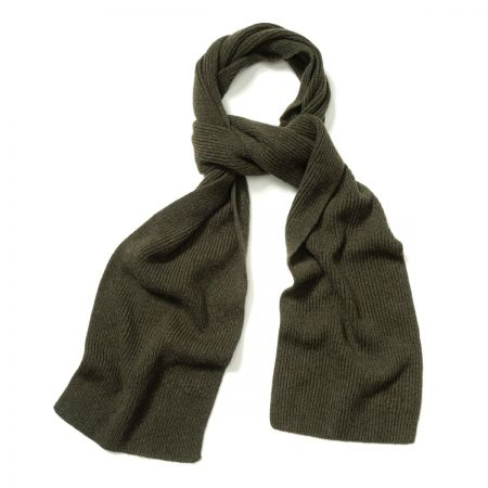 Plain Cashmere Ribbed Scarf in Loden Mix