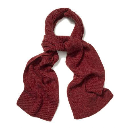 Plain Cashmere Ribbed Scarf in Poppy Mel