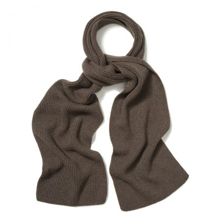 Plain Cashmere Ribbed Scarf in Wilderbeast