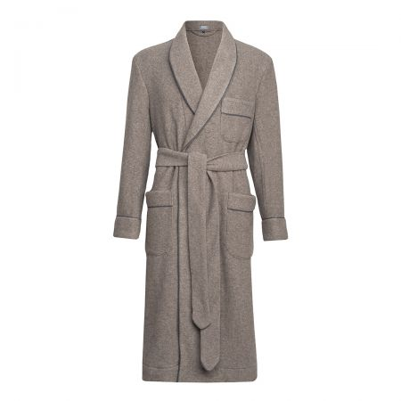 Plain Cashmere and Wool Dressing Gown in Mink and Charcoal