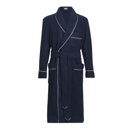 Plain Cashmere and Wool Dressing Gown in Navy and White