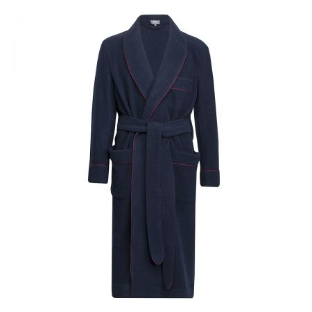 Plain Cashmere and Wool Dressing Gown in Navy and Wine