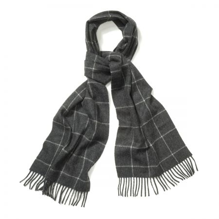 Windowpane Cashmere Scarf in Midsteel and White