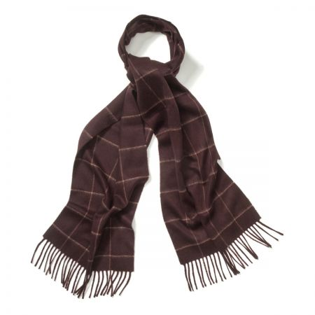 Windowpane Cashmere Scarf in Bourgogne and Fudge
