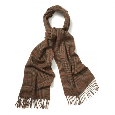 Prince of Wales Cashmere Scarf in Fudge, Dark Brown and Bengal Tiger
