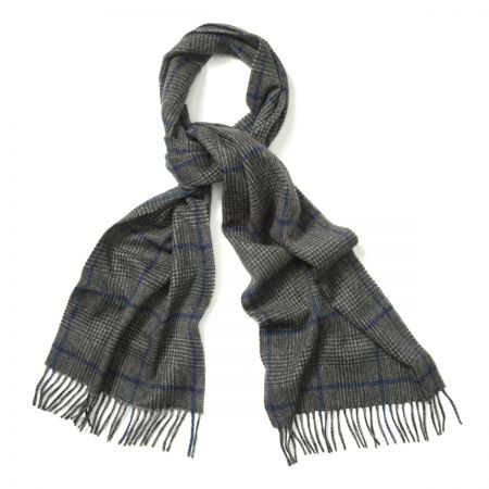 Prince of Wales Cashmere Scarf in Grey, Charcoal and Cobalt