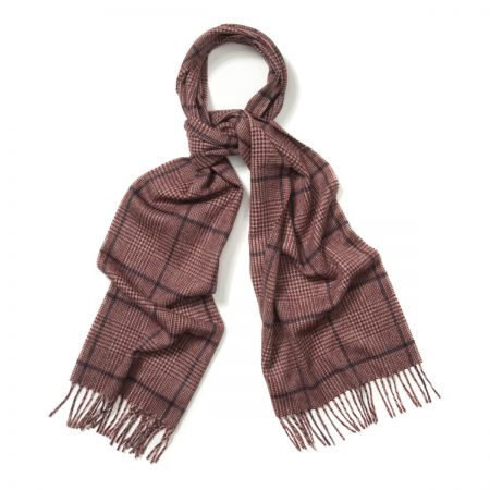 Prince of Wales Cashmere Scarf in Cream, Crimson and Medieval Blue