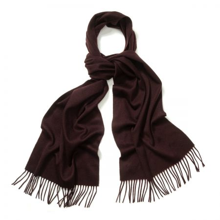 Plain Ripple Cashmere Scarf in Bourgogne