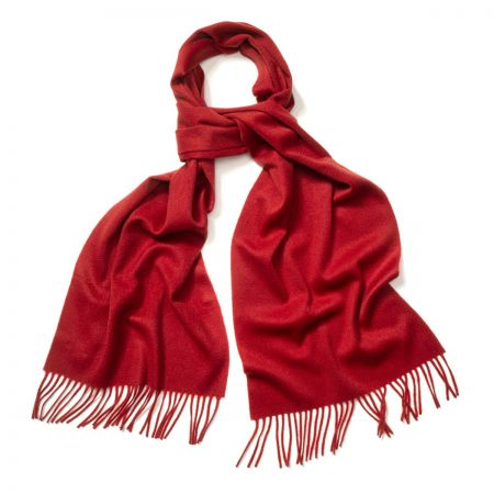 Plain Ripple Cashmere Scarf in Bright Scarlet