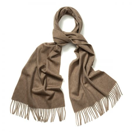 Plain Ripple Cashmere Scarf in Fawn