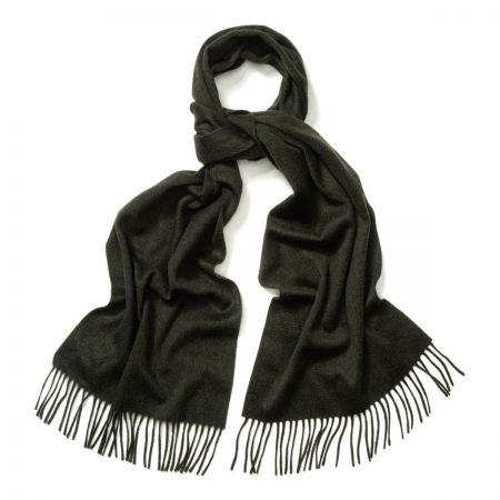 Plain Ripple Cashmere Scarf in Green Black Mix